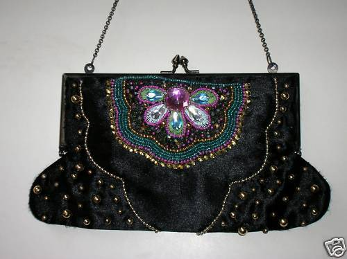 Primary image for Beaded Black French clasp vintage Evening Bag / Purse / Handbag