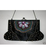 Beaded Black French clasp vintage Evening Bag /... - $28.88