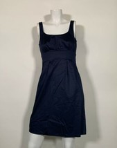 J Crew Dress Sheath Navy Blue Cotton Sleeveless Career Casual Sz S - $34.99