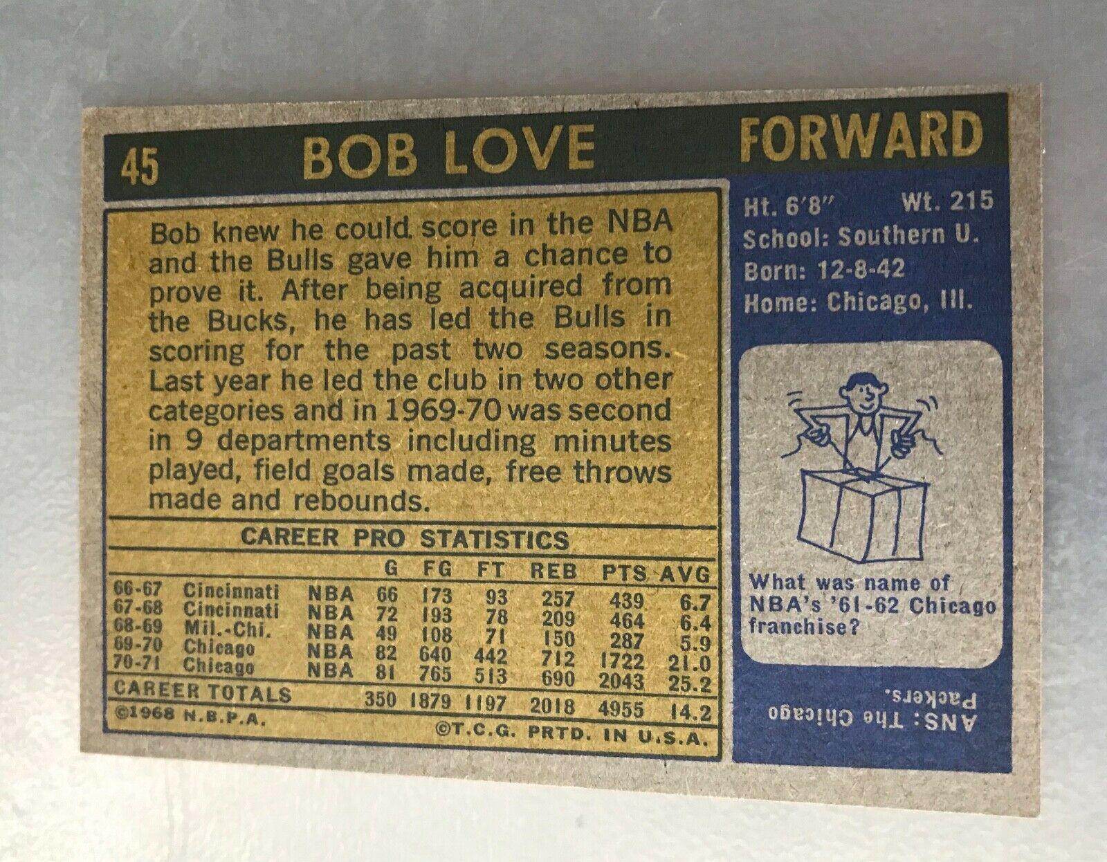 1971-72 Topps #45 Bob Love Chicago Bulls Basketball Card