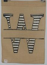 Kate Winston Brand Brown Burlap Monogram Black White W Garden Flag image 2