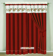 4-Pc Floral Blossom Vine Scroll Embroidery Curtain Set Ivory Red Drape Valance - $40.89