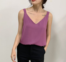2020 V-neck Chiffon Sleeveless Top Ladies Chiffon Tank Bridesmaid Chiffon Tank T image 5