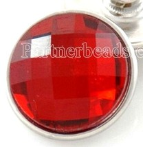 Red Faceted Crystal 18mm Snap Charm Interchangeable Jewelry Fits Ginger ... - $6.19