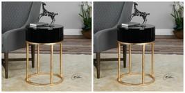 PAIR DESIGNER MODERN AGED GOLD LEAF METAL ACCENT END TABLE BLACK GLASS TOP  - $646.80