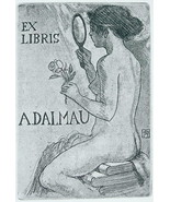 NUDE EX LIBRIS Girl with Mirror & Rose Sits on Books - 1922 Lichtdruck P... - $12.60