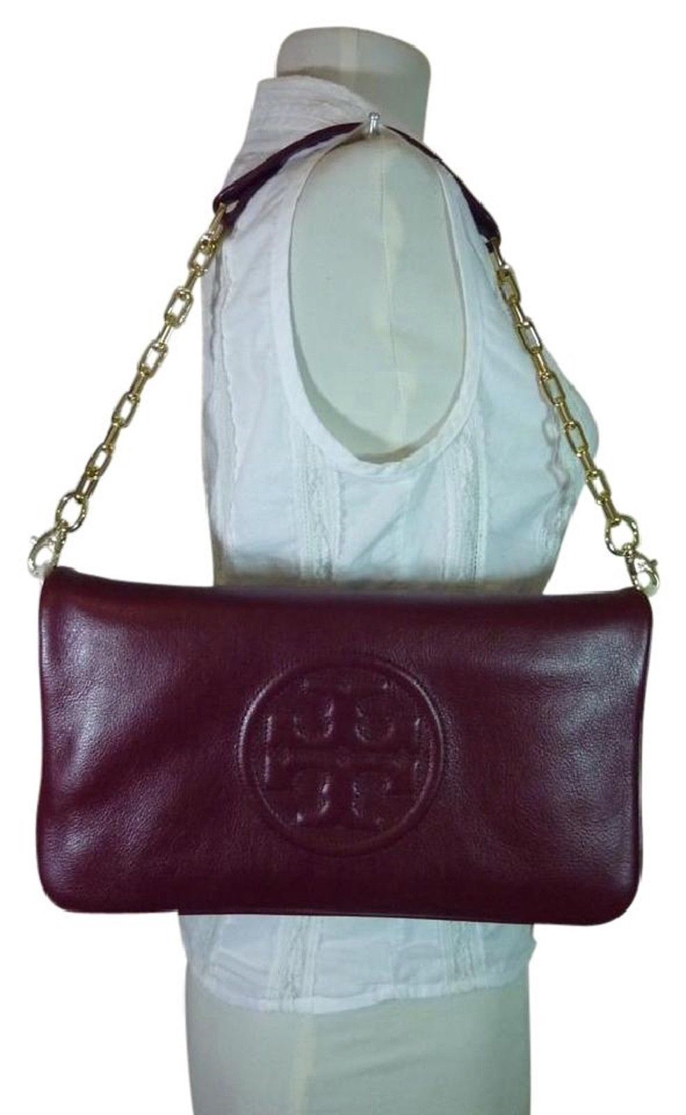 7a531e35d14 NWT Tory Burch Red Agate Leather BOMBE Reva Shoulder Bag Clutch -  324.73