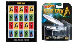 Star Trek Sheet of 20 USPS Stamps and U.S.S. Enterprise 50th Anniv model.  - $32.99