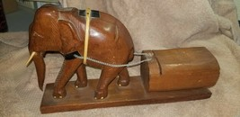 VINTAGE  HAND CARVED ELEPHANT PULLING TRUNK THAT OPENS WITH CHAIN FIGURINE - $24.25
