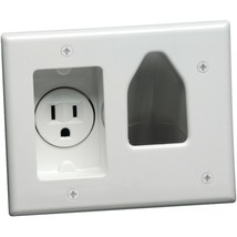 DataComm Electronics 45-0021-WH 2-Gang Recessed Low-Voltage Cable Plate with Rec - $36.40