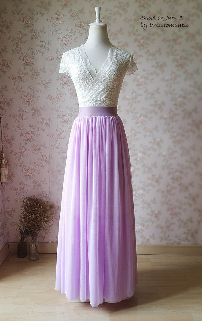 2017 Full Long Tulle Skirt Plus Size Tulle Skirt Elastic Lilac Tulle Skirt NWT