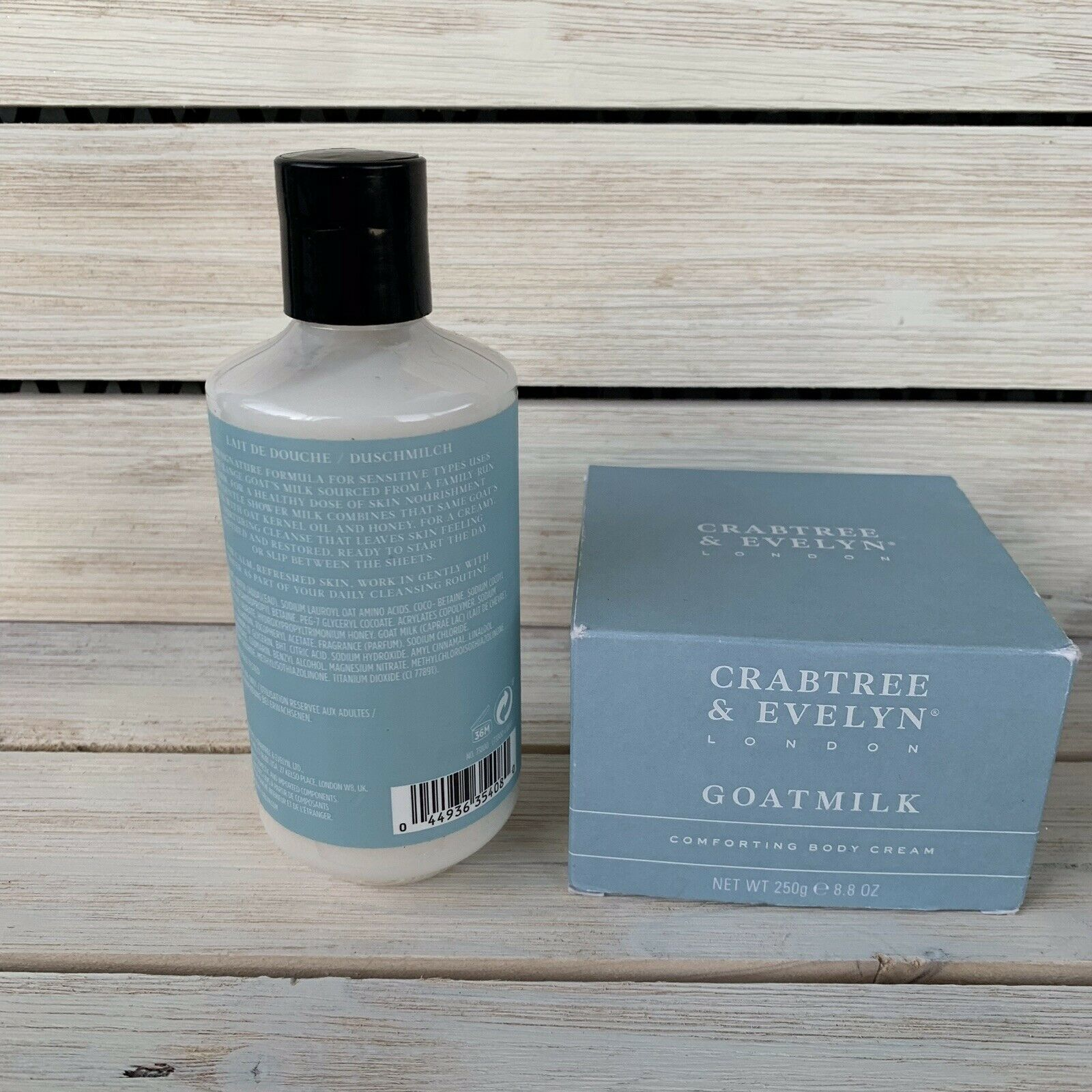 Crabtree & Evelyn GOATMILK & OAT SOOTHING BODY CREAM & SHOWER MILK 8.8 oz NIB