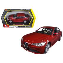2016 Alfa Romeo Giulia Burgundy 1/24 Diecast Model Car by Bburago 21080BUR - $33.99