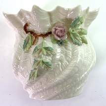Belleek Millennium • Cachepot Vase • with Applied Rose, Leaves and Clovers - $29.95