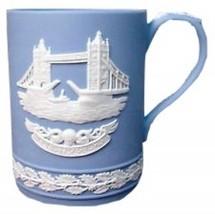 CHRISTMAS MUG JASPER-WARE BLUE WEDGWOOD 1975 BRIDGE - $49.49