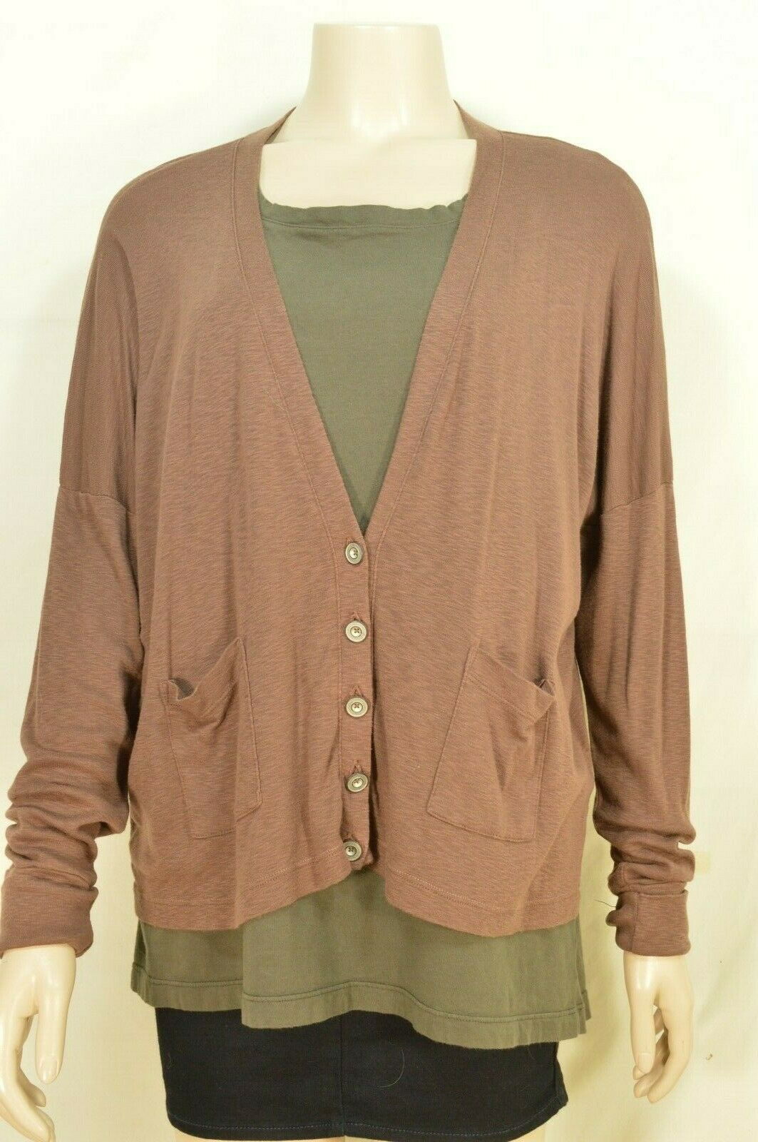 Michael Stars sweater OSFM brown cardigan dropped shoulders lightweight fall USA image 11