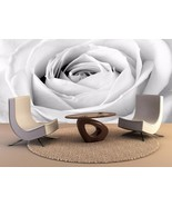 Pared Murales Blanco Rosa Close Up 3D Decoración Hogar Estampado Pegatin... - €113,34 EUR