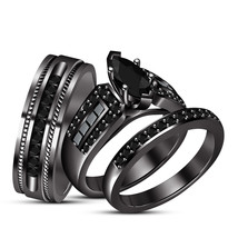 Engagement trio halo style ring sets 3.15ct marquise cut diamond black g... - $135.01