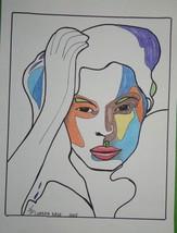 "Original Portrait Study wall art drawing ""Staring"" small size no frame m... - $34.65"