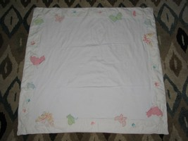 """Baby Gap Girl Cotton Blanket Butterfly Pink Blue Green Yellow 36"""" x 36"""" 2004 vtg - $49.49"""