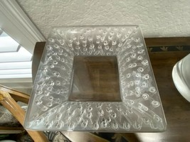 Lalique French Crystal Roses Large Square Bowl Very Lovely - $890.99