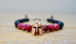 Lava Stone & Pink Sediment Jasper 8mm Beads Adjustable Warrior Bracelet ... - $14.93