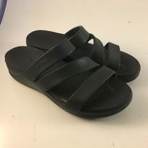 Crocs Patricia Women's Size 9 Black Strappy Wedge Slide Sandals - $23.75