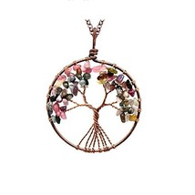 Luvalti Tree of Life - Gemstone Chakra Jewelry Pink Colorful Bronze Chain - $48.20