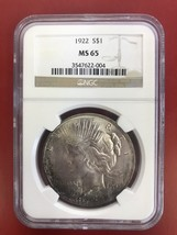 1922 Silver Peace Dollar NGC Certified MS-65 - $115.00