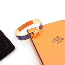 Authentic Hermes Navy Blue Enamel Gold H Clic-Clac Bracelet PM RARE image 7