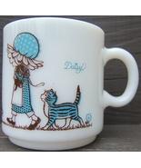 Vintage Daisy Open Your Heart  Freindship Kittens Milk Glass Mug Kirby M... - $59.98