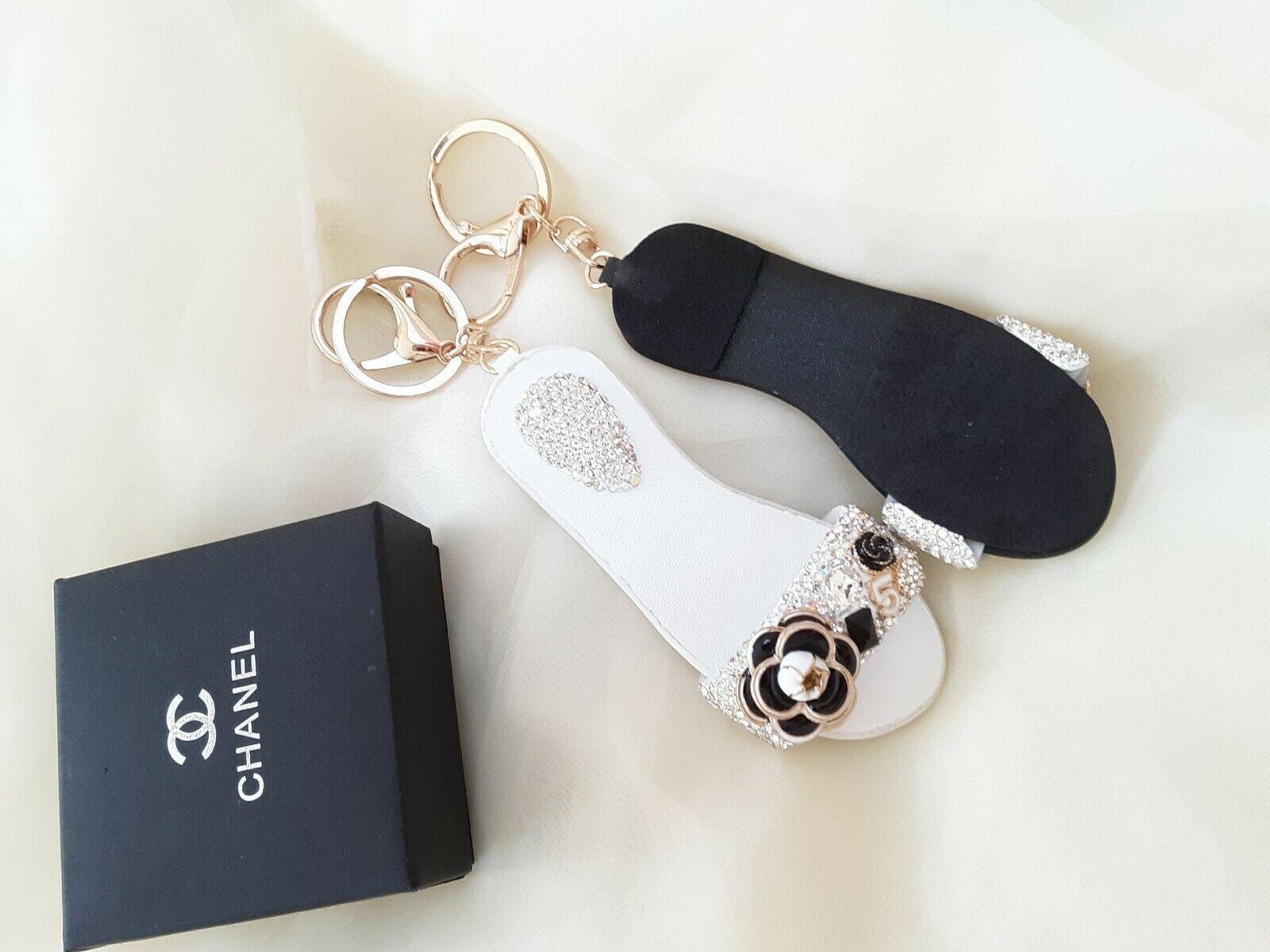 Hand made Luxury Rhinestone camellia number 5 Slipper Keychain Bag Charm