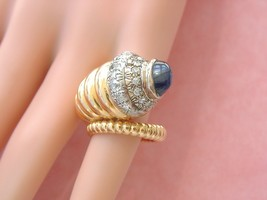 Vintage Retro .82ctw Diamond 3ct Sapphire 18K Huge Cornucopia Pinky Ring 1940 - $3,167.01