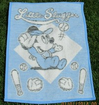 VTG 1984 Disney Biederlack Baby Mickey Blanket Throw 38 x 28 Slugger Bas... - $39.99
