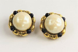 ESTATE VINTAGE SIGNED CHANEL DEPOSE 2023 MABE GLASS PEARL CABOCHON EARRINGS - $225.00