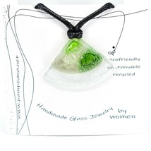 Handmade Recycled Fused Glass Green Triangle Pie Slice Necklace Made in Ecuador