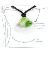 Handmade Recycled Fused Glass Green Triangle Pie Slice Necklace Made in Ecuador - $19.79