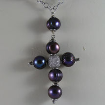.925 SILVER RHODIUM NECKLACE WITH GRAY PEARLS AND CROSS image 3