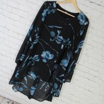 Alfani Shirt Top Tunic Womens Small S Black Blue Chiffon High Low MSRP $... - $41.85