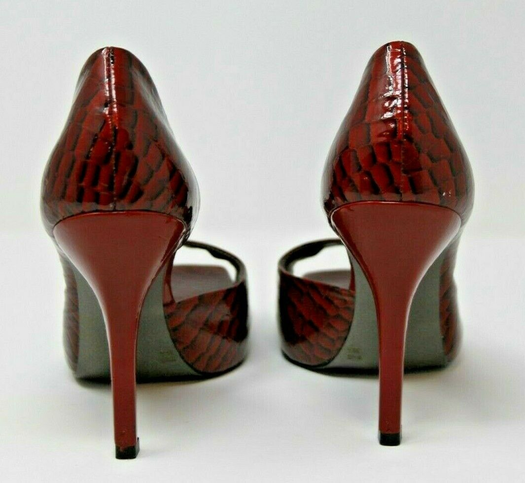 "Jessica Simpson Size 9.5 B Womens Heels Red Croc Embossed Leather Upper 4"" Heel image 3"