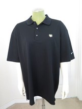 Nike Golf Polo Shirt Dri-Fit L Large Black Dry Book Bible Wheat Embroidered - $19.79