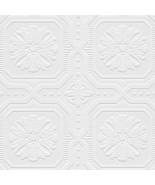 Tin Tiles Paintable Wallpaper White Norwall Wallcovering 48928 - $34.64