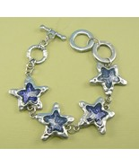 Blue Star Glass & Metal Bracelet w/ Adjustable Toggle Clasp - $6.99