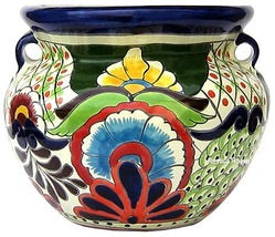 "Small Mexican Flower Planter ""Blue Flower"" - $75.00"