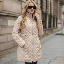 Ladies Long Quilted Jacket Outerwear Winter Coat  Medium image 1