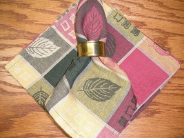 Set Of 4 Leaf Design Cloth Napkins 17 x 17 - 100% Cotton Made in India - $7.99