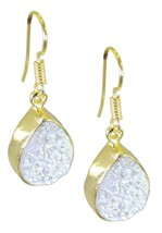 Multi Gold Plated Glass handsome Druzy jewellery Earring UK gift - $13.17