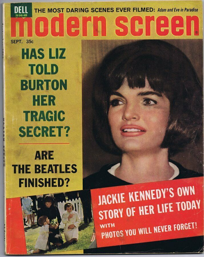 Primary image for ORIGINAL Vintage September 1964 Modern Screen Magazine Jackie Kennedy