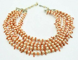 Faux Pearl Peach Coral Branch Multi-Strand Choker Necklace Vintage - $39.59