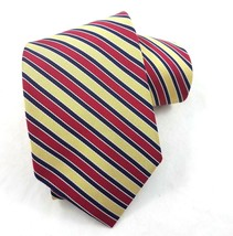 Brooks Brothers Makers Silk Neck Tie Blue Red Gold Striped Woven in England - $34.49